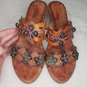 Spring Step Leather Slip On Sandals Size 7.5 or 38